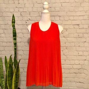 Zara Pleated Sleeveless Red Swing Top - Sz S